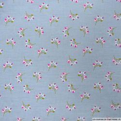 Coton imprimé fleurs sauvages fond gris