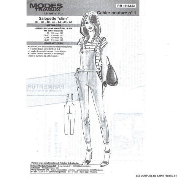 Patron n°418 491 Modes & Travaux - Pantalon Large