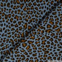 Double gaze bleu imprimé léopard