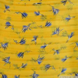 Mousseline dévorée rayures dorés bouquets fond moutarde