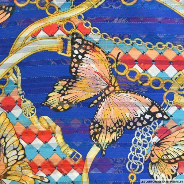 Mousseline dévorée rayures dorés papillons fond bleu électrique