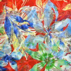 Mousseline dévorée grande fleur fond rouge