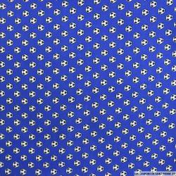 Coton imprimé football fond bleu