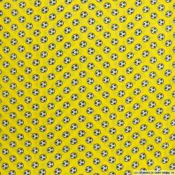 Coton imprimé football fond jaune