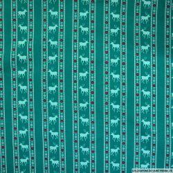 Coton imprimé scandinave fond vert canard