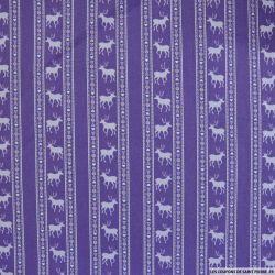 Coton imprimé scandinave fond violet