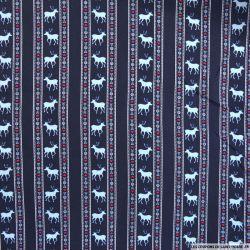 Coton imprimé scandinave fond marine