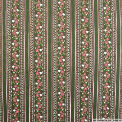 Coton imprimé frise à fleurs fond kaki