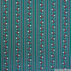 Coton imprimé frise à fleurs fond vert canard