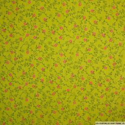Coton imprimé arabesque fond vert