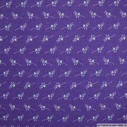 Coton imprimé branche fond violet
