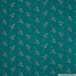 Coton imprimé branches fond vert canard