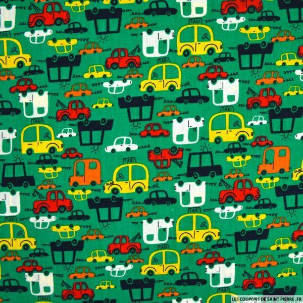 Coton imprimé voiture fond vert
