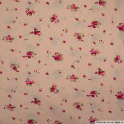 Coton imprimé champêtre fond rose pâle
