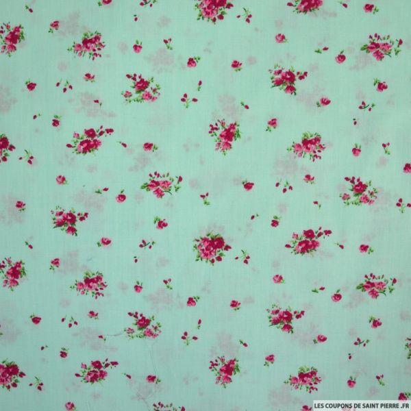 Coton imprimé champêtre fond vert d'eau