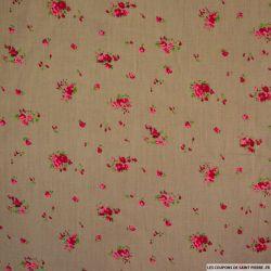 Coton imprimé champêtre fond taupe