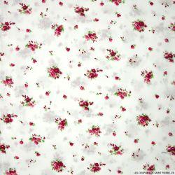 Coton imprimé champêtre fond blanc