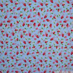Coton imprimé botanique fond ciel