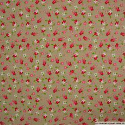 Coton imprimé botanique fond taupe