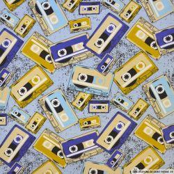 Jersey coton imprimé cassette vintage