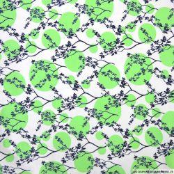 Jersey polycoton imprimé japon cercle vert pomme