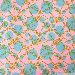 Jersey coton imprimé japon cercle bleu fond rose