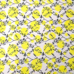 Jersey polycoton imprimé japon cercle jaune fond nude