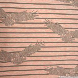 Jersey polycoton imprimé aigle royal rayé fond rose chiné
