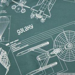 Jersey polycoton imprimé vaisseau spatial fond vert de gris