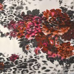 Jersey polycoton imprimé champs de fleurs fond blanc