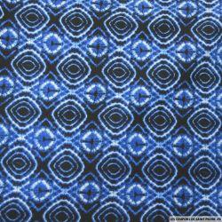 Jersey polycoton imprimé graphique bleu