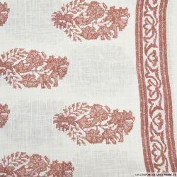 Voile de Coton imprimé bohème rouille fond blanc