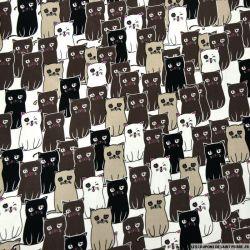 Satin de coton élasthane imprimé chat