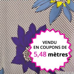 Wax africain fleurs violettes et grises rayés, vendu en coupon de 5,48 mètres
