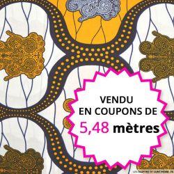 Wax africain statuette marine et curry, vendu en coupon de 5,48 mètres