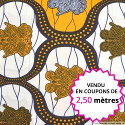 Wax africain statuette marine et curry, vendu en coupon de 2,50 mètres