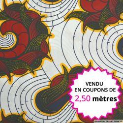 Wax africain flamme bordeaux, vendu en coupon de 2,50 mètres