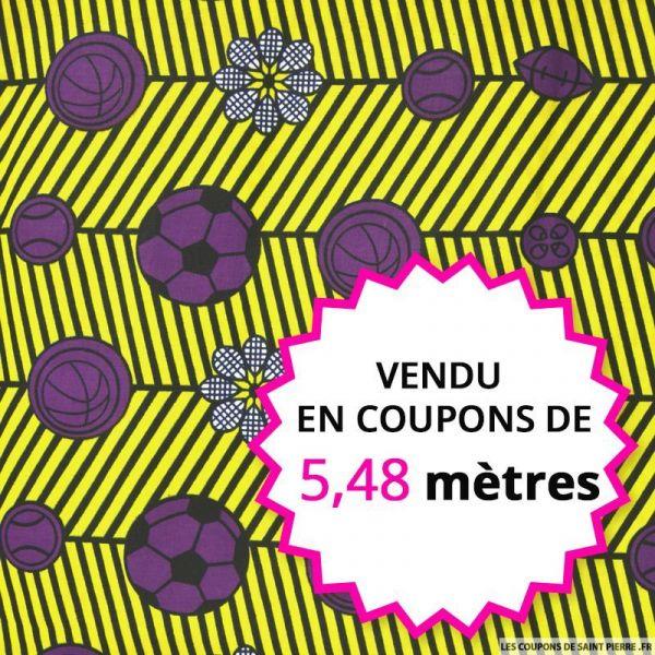 Wax africain sport violet fond jaune, vendu en coupon de 5,48 mètres