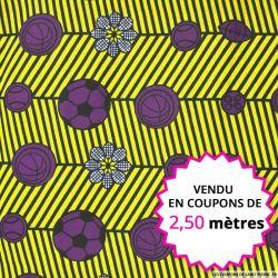Wax africain sport violet et jaune, vendu en coupon de 2,50 mètres