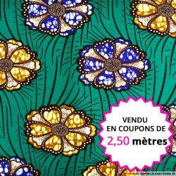 Wax africain pivoine fond vert, vendu en coupon de 2,50 mètres