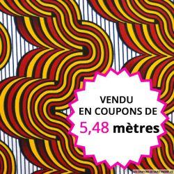 Wax africain volcan rouge et ocre, vendu en coupon de 5,48 mètres