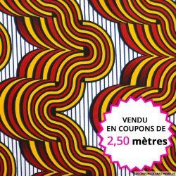 Wax africain volcan rouge et ocre, vendu en coupon de 2,50 mètres