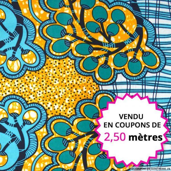 Wax africain grappe turquoise et orange, vendu en coupon de 2,50 mètres