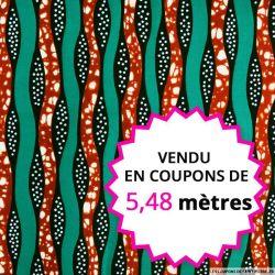 Wax africain forêt de lianes, vendu en coupon de 5,48 mètres