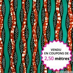 Wax africain forêt de lianes, vendu en coupon de 2,50 mètres