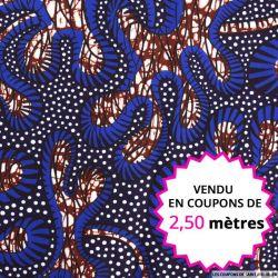 Wax africain fond marin, vendu en coupon de 2,50 mètres