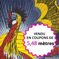 Wax africain coq soleil levant, vendu en coupon de 5,48 mètres