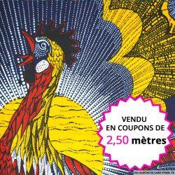 Wax africain coq soleil levant, vendu en coupon de 2,50 mètres