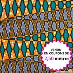 Wax africain urbanisme orange et vert, vendu en coupon de 2,50 mètres