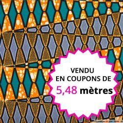 Wax africain urbanisme orange et vert, vendu en coupon de 5,48 mètres
